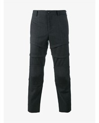 Comme Des Garcons Cropped Pinstripe Wool Trousers Grey White Multi Black