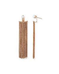 Vita Fede Bianca Pearl And Chain Fringe Earrings Rose Gold
