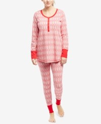 Motherhood Maternity Pajama Set Red Fairisle