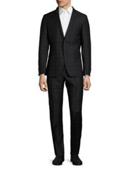 Strellson Virgin Wool Plaid Suit Black