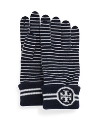 Tory Burch Striped Wool Gloves With Logo