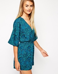 Asos Playsuit In Floral Print With Kimono Sleeve Multi