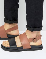 Asos Sandals In Black And Tan Leather With Wedge Sole Tan