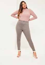 Missguided Plus Size Brown High Waisted Skinny Jeans Taupe