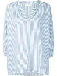 The Great Striped Tunic Style Blouse Blue