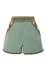Talitha Maasai Embroidered Shorts Green