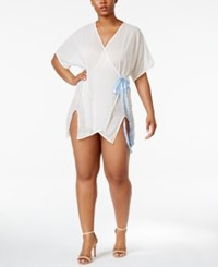 Urban Intimates Goddess Plus Size Asymmetrical Hem Mesh Robe Ipts052 White