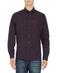 Ben Sherman Long Sleeved Gingham Sportshirt Dark Plum