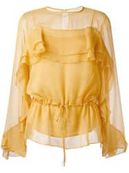 See By Chloe Gathered Blouse Yellow Orange