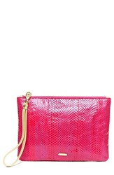 Hayden Harnett 'Maya' Clutch Pink Hot Pink Watersnake