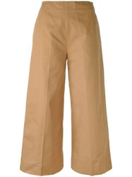 Msgm Flared Cropped Trousers Brown