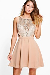 Boohoo Metallic Lace Cut Out Detail Skater Dress Gold