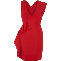 River Island Red Sleeveless Frill Front Bodycon Dress