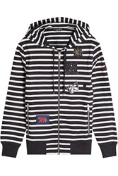 Alexander Mcqueen Striped Cotton Hoodie With Patches