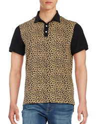 Laboratory Lt Man Leopard Print Cotton Polo Black Multi