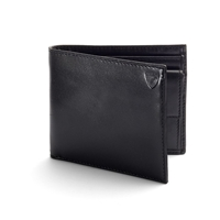 Aspinal Of London Coin Wallet In Black Ebl And Cobalt Suede