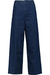 Maje Cropped High Rise Wide Leg Jeans Mid Denim