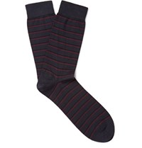 John Smedley Epsilon Striped Sea Island Cotton Blend Socks Midnight Blue
