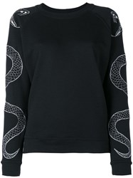Zoe Karssen Serpent Embroidered Sweatshirt Black