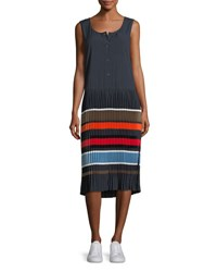 Public School Jama Sleeveless Striped Pleated Midi Dress Blue Pattern