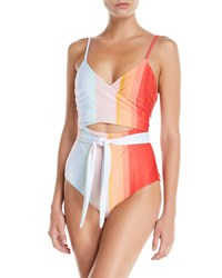 Mara Hoffman Isolde Striped Wraparound One Piece Swimsuit Orange