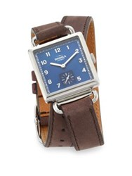 Shinola The Cass Mother Of Pearl Stainless Steel And Double Wrap Leather Strap Watch Brown Blue