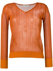 L'autre Chose Lightweight Crochet V Neck Sweater Orange