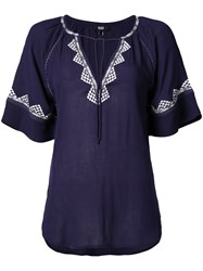 Paige Embroidered Shortsleeved Blouse Women Viscose S Blue