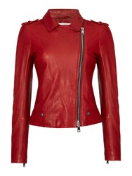 Oui Leather Jacket Red