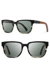 Shwood Men's 'Prescott' 52Mm Titanium And Wood Sunglasses Black Grey Walnut Grey Black Grey Walnut Grey