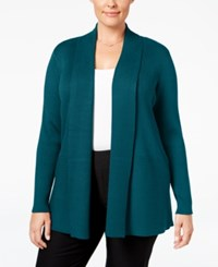 Jm Collection Plus Size Ribbed Open Front Cardigan Only At Macy's Teal Abyss
