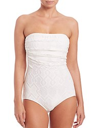 Jean Paul Gaultier One Piece Convertible Bandeau Swimsuit White Lace
