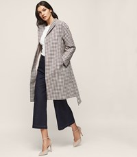Reiss Mae Checked Trench Coat In Multi