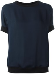Vince Crew Neck Sheer Blouse Blue