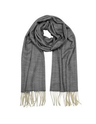 Mila Schon Herringbone Cashmere Wool And Silk Fringed Long Scarf Black