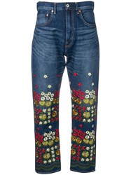 Junya Watanabe Floral Embroidered Jeans Blue