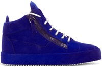 Giuseppe Zanotti Blue Flocked May London High Top Sneakers