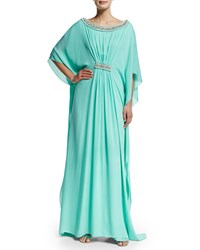 3 4 Sleeve Embellished Caftan Gown Turquoise Gold Badgley Mischka