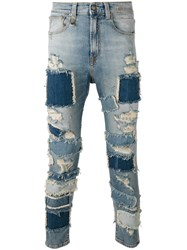 R 13 R13 Extreme Patch Leyton Jeans Blue
