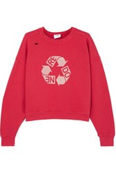 Re Done Cropped Distressed Printed Cotton Jersey Sweatshirt Red