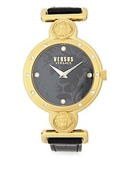 Versus By Versace Stainless Steel And Saffiano Leather Strap Watch Yellow Gold