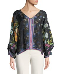 Johnny Was Forest Silk Georgette Long Sleeve Blouse Plus Size Multi