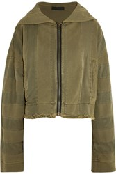 Haider Ackermann Hooded Twill Trimmed Cotton Jersey Jacket Army Green
