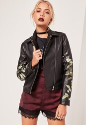 Missguided Faux Leather Embroidered Biker Jacket Black