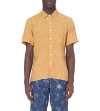Oliver Spencer Regular Fit Linen Shirt Opie Yellow