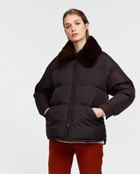 Aspesi Taffeta Down Jacket With Fur Collar Moka Brown