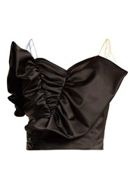Anna October Tassel Tie Ruffled Satin Bustier Top Black
