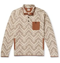 Faherty Monument Valley Shell Trimmed Printed Cotton Blend Fleece Sweatshirt Neutral