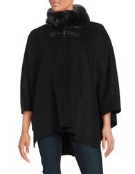 Jones New York Faux Fur Collar Wool Blend Cape Black