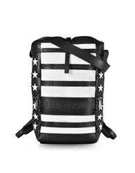 Balmain Backpacks American Flag Black And White Patchwork Leather Men's Cruise Backpack